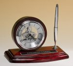 Piano-Finish Clock and Pen Set Executive Gift Awards