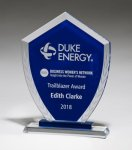 Shield-Shaped Glass Award with Blue Center and Etched Laurel Wreath Quick Turnaround